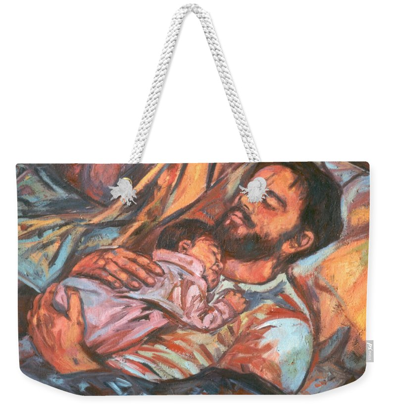 Figure Weekender Tote Bag featuring the painting Clyde and Alan by Kendall Kessler