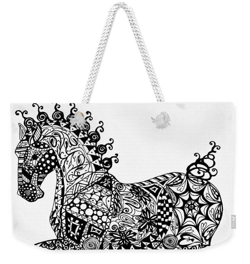 Clydesdale Weekender Tote Bag featuring the drawing Clydesdale Foal - Zentangle by Jani Freimann