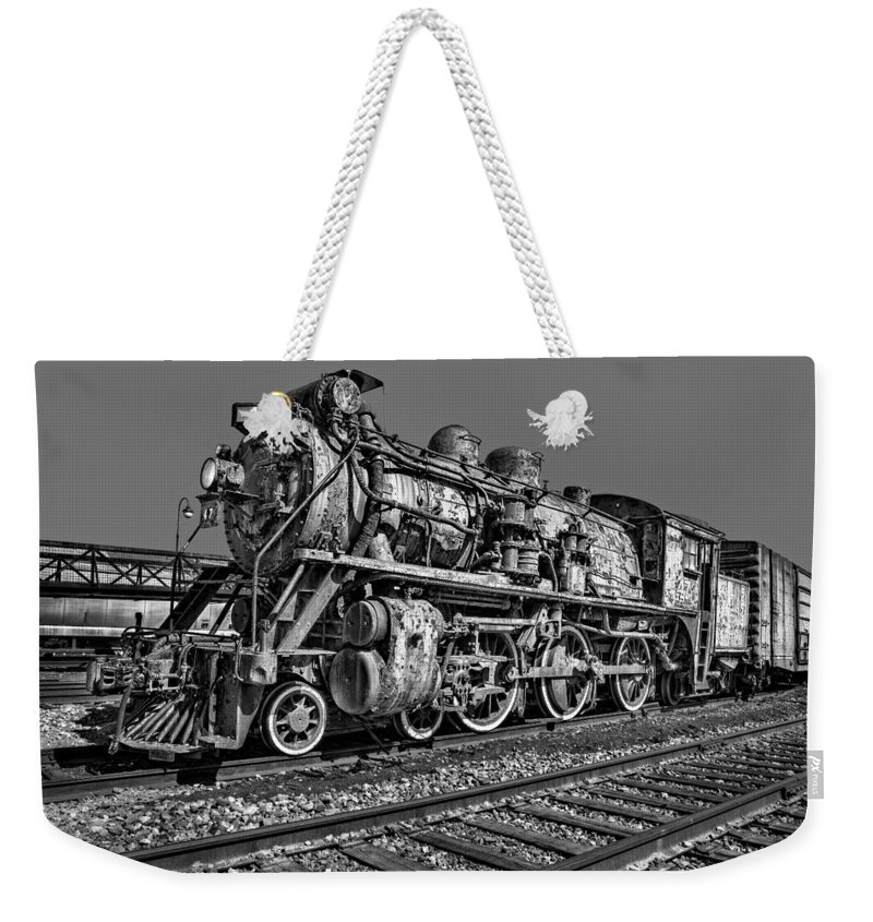 Steam Engine Train Weekender Tote Bag featuring the photograph Cnr Number 47 Bw by Susan Candelario