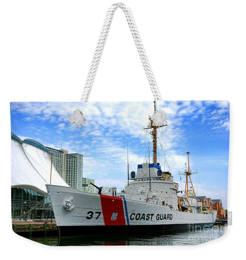 Coast Weekender Tote Bag featuring the photograph Coast Guard Cutter Taney by Olivier Le Queinec