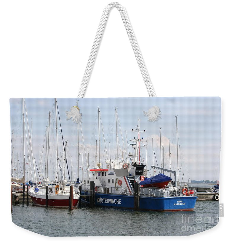 Harbor Weekender Tote Bag featuring the photograph Coast Guard Maasholm Harbor by Christiane Schulze Art And Photography