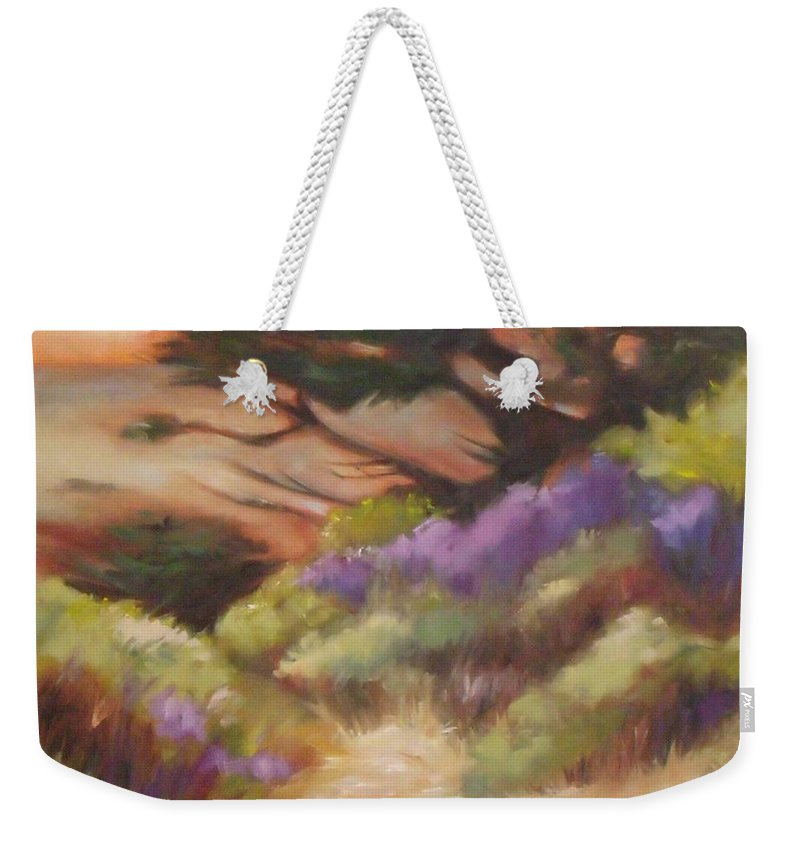 Doodlefly Weekender Tote Bag featuring the painting Coastal Color by Mary Hubley