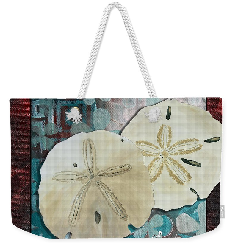 Coastal Weekender Tote Bag featuring the painting Coastal Decorative Shell Art Original Painting Sand Dollars Asian Influence I By Megan Duncanson by Megan Duncanson