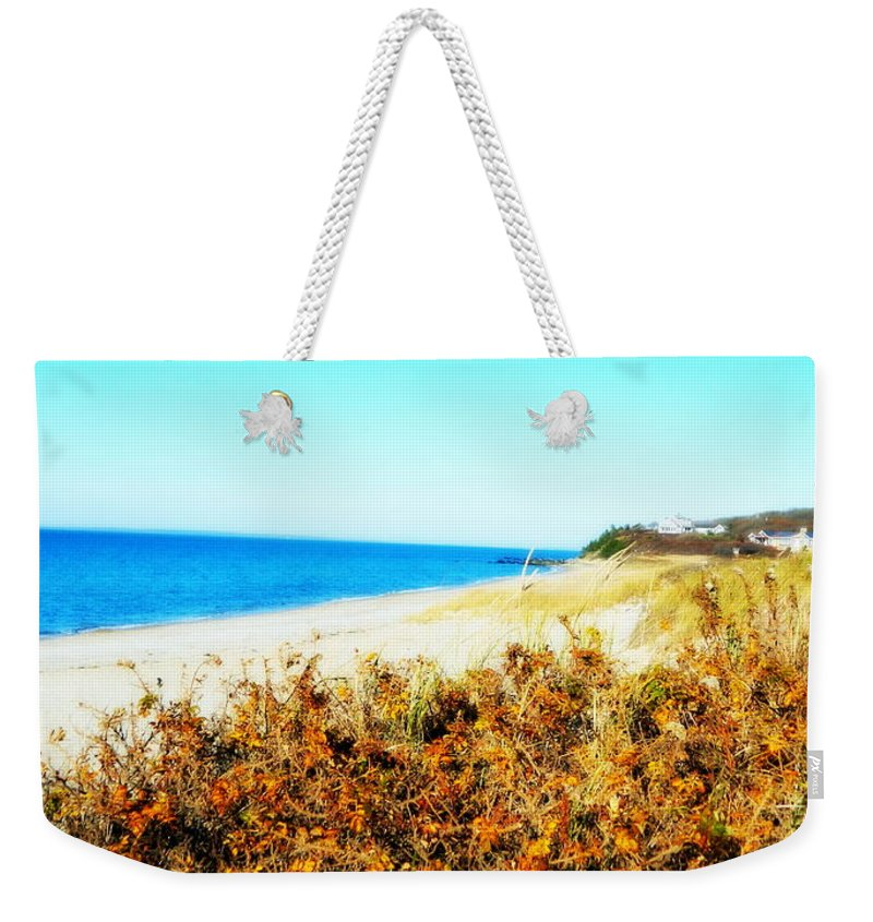 Beach Weekender Tote Bag featuring the photograph Coastal Lookout by Kathy Barney
