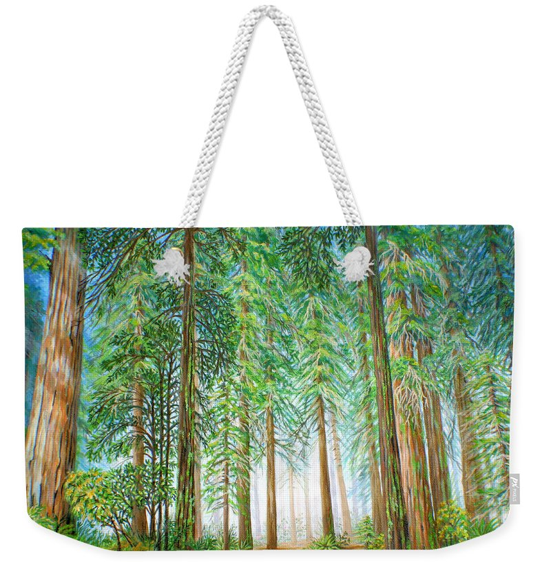 Trees Weekender Tote Bag featuring the painting Coastal Redwoods by Jane Girardot