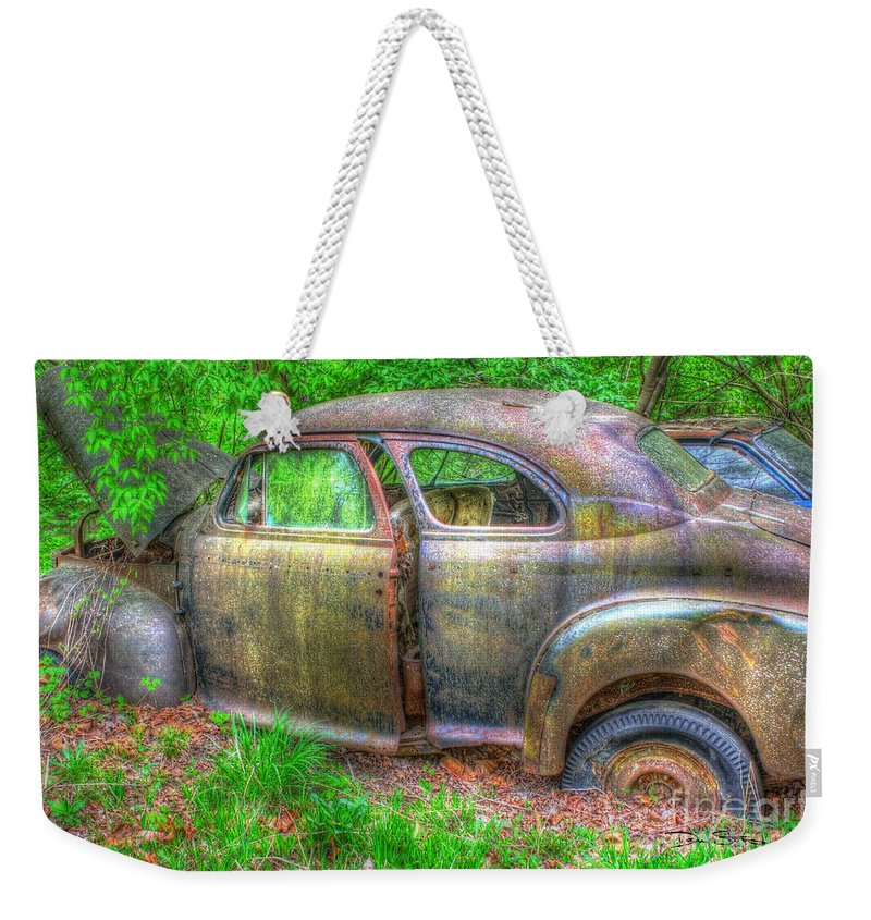 Antique Weekender Tote Bag featuring the photograph Coat Of Different Colors- Auto Personalities #3 by Dan Stone