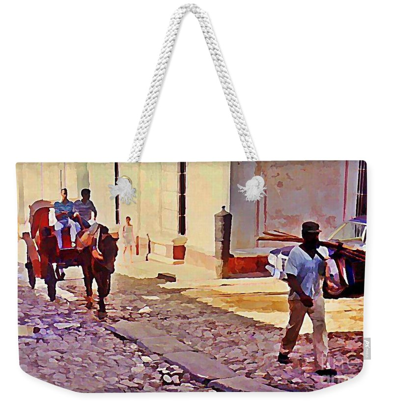 Street Scenes Weekender Tote Bag featuring the painting Cobble Stone Streets Of Cuba by John Malone