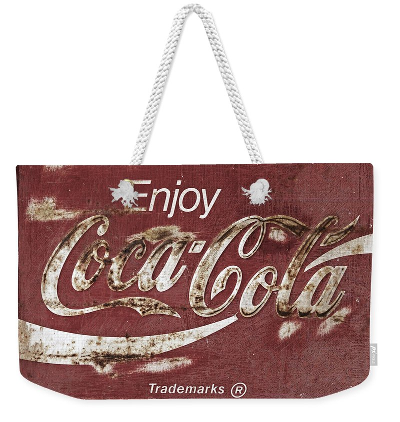 Coca Cola Weekender Tote Bag featuring the photograph Coca Cola Faded Sign by John Stephens