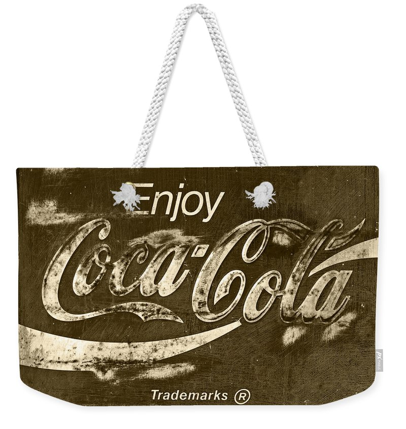 Coca Cola Weekender Tote Bag featuring the photograph Coca Cola Sign by John Stephens