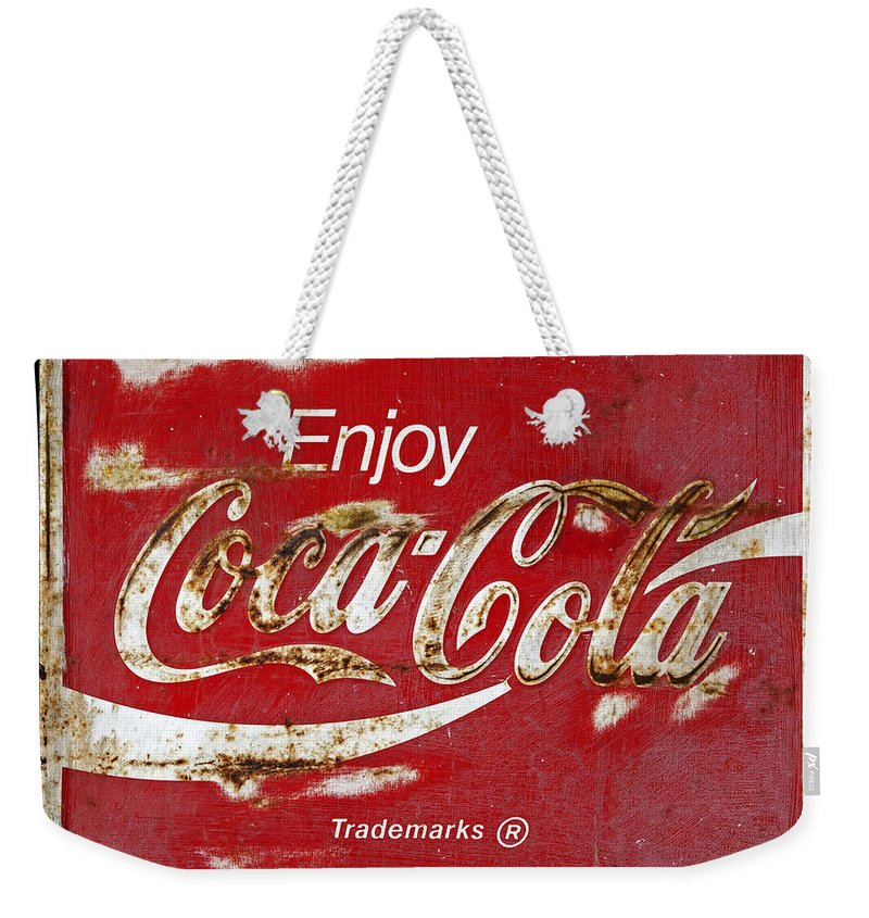 Coca Cola Weekender Tote Bag featuring the photograph Coca Cola Vintage Rusty Sign by John Stephens