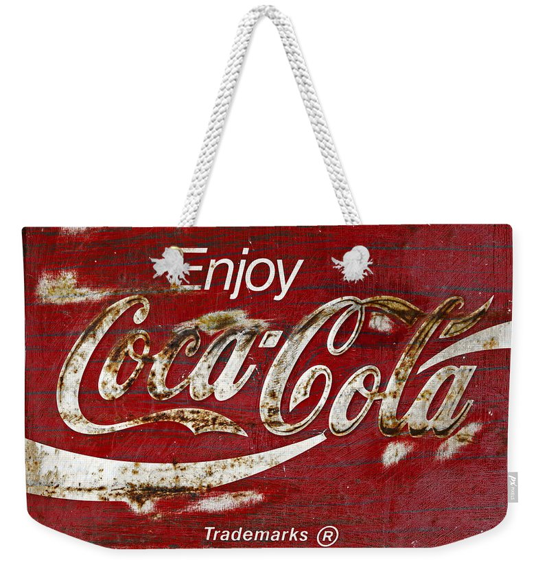Coca Cola Weekender Tote Bag featuring the photograph Coca Cola Wood Grunge Sign by John Stephens