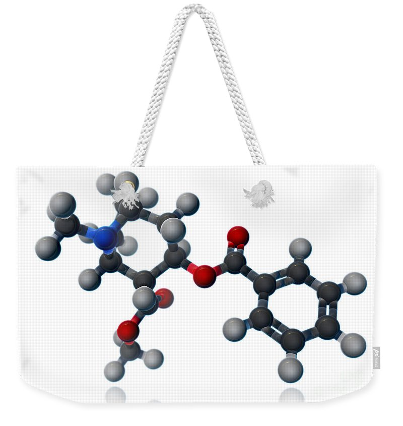 3d Illustration Weekender Tote Bag featuring the photograph Cocaine Molecular Model by Evan Oto