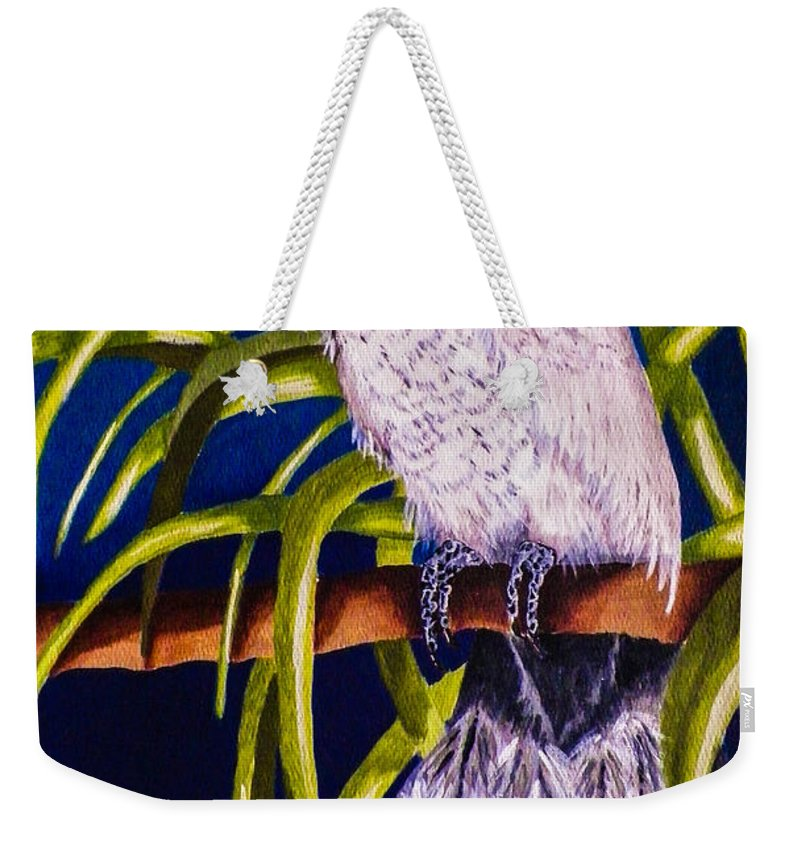 Bird. Parrot. Cockatoo. Foliage. Blue. Nature. Wildlife. Fine Art. Design. Weekender Tote Bag featuring the painting Cockatoo by Dawn Siegler