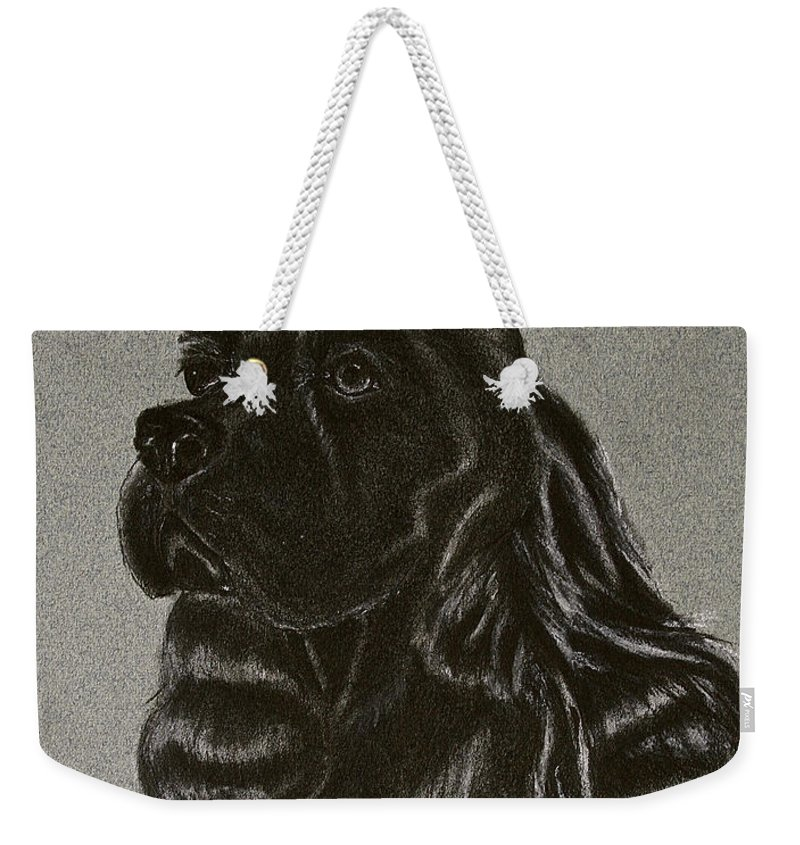 Black Cocker Weekender Tote Bag featuring the drawing Cocker Spaniel by Susan Herber