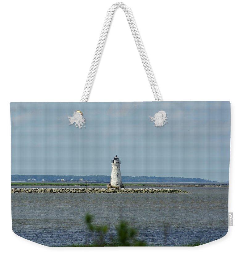 Cockspur Island Light Weekender Tote Bag featuring the photograph Cockspur Island Light by Kim Pate