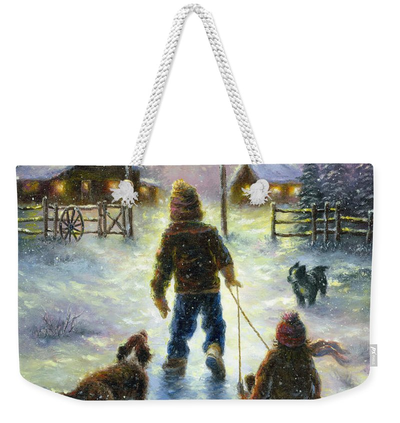 Snow Weekender Tote Bag featuring the painting Cocoa Time by Vickie Wade