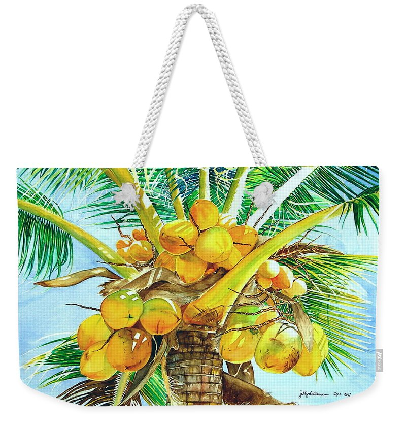 Coconut Tree Weekender Tote Bag featuring the painting Coconut Series II by Jelly Starnes