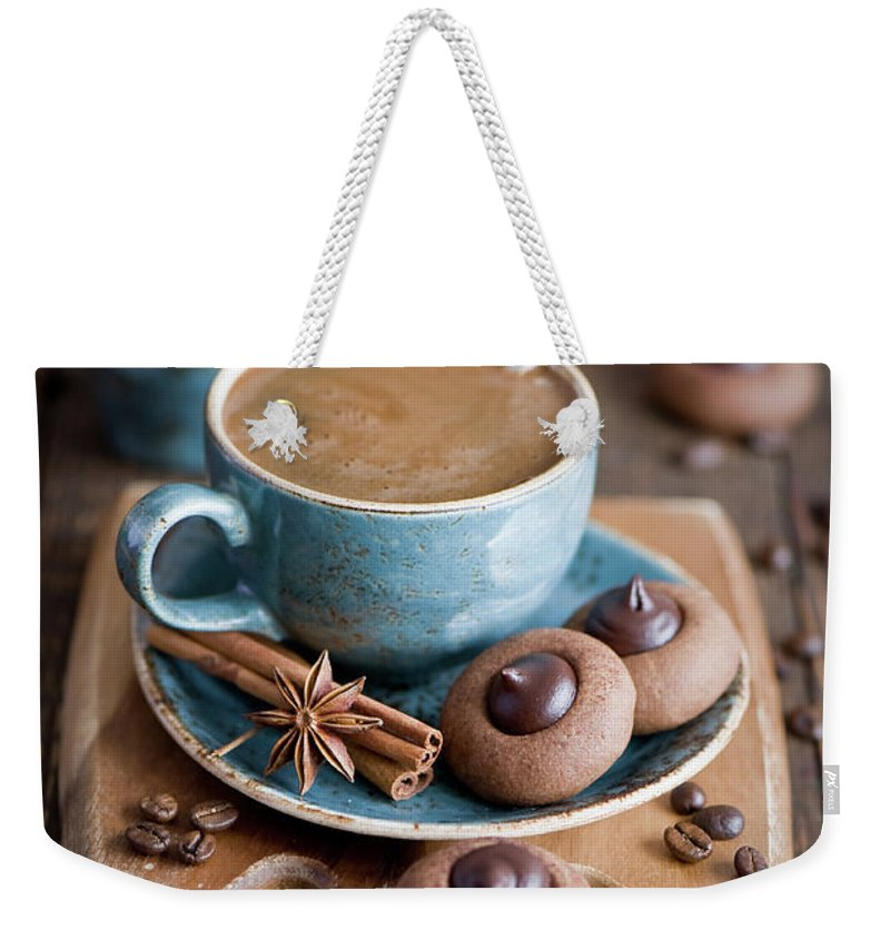 Temptation Weekender Tote Bag featuring the photograph Coffee And Cookies by Verdina Anna