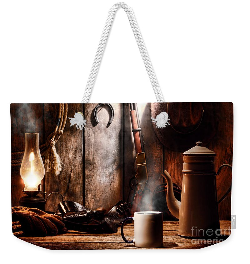 Coffee Weekender Tote Bag featuring the photograph Coffee At The Cabin by Olivier Le Queinec