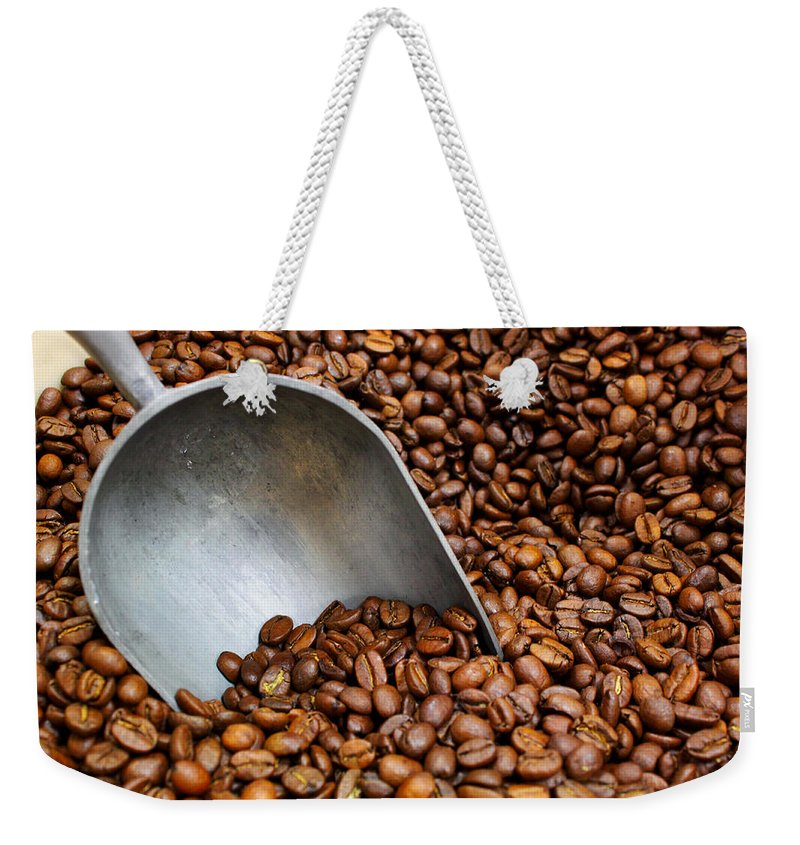 Coffee Weekender Tote Bag featuring the photograph Coffee Beans With Scoop by Jason Politte