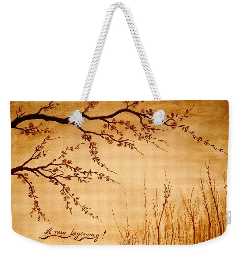 Coffeepainting Cherry Lowers Blossomimg Weekender Tote Bag featuring the painting Coffee Painting Cherry Blossoms by Georgeta Blanaru