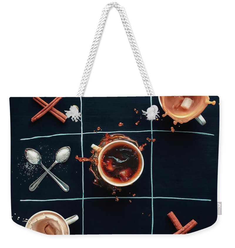 Milk Weekender Tote Bag featuring the photograph Coffee Tic-tac-toe by Dina Belenko Photography