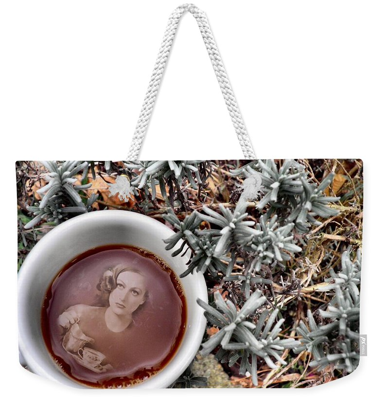 Joan Crawford Weekender Tote Bag featuring the photograph Coffee With Joan Crawford No. 1 by T Cook