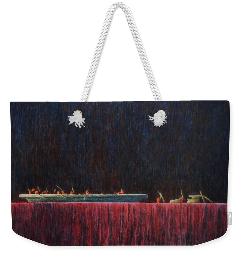 Still Life Weekender Tote Bag featuring the painting Coffer by A Robert Malcom