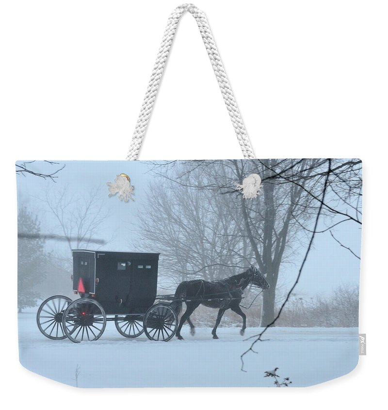Amish Weekender Tote Bag featuring the photograph Cold Amish Morning by David Arment