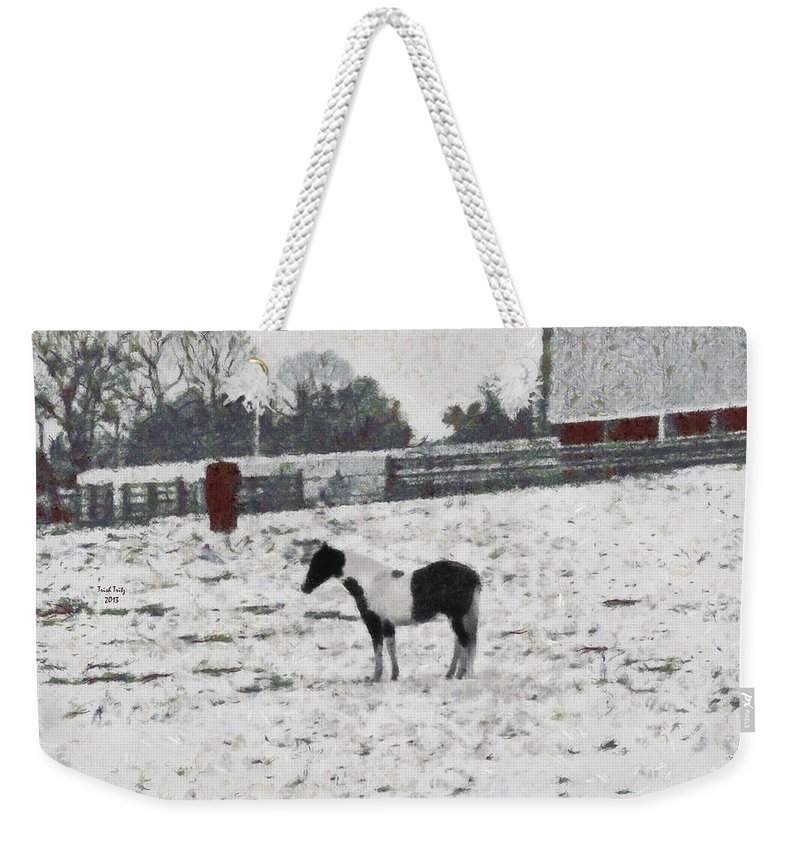 Horse Weekender Tote Bag featuring the photograph Cold And Lonely by Trish Tritz