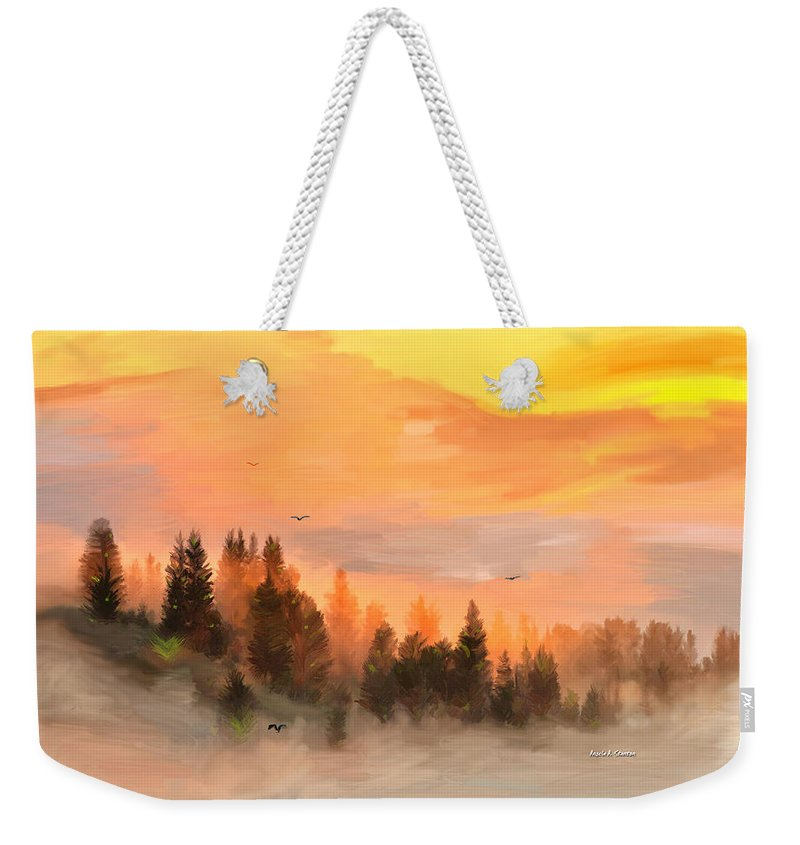 Fog Weekender Tote Bag featuring the painting Cold Foggy Spring Morning by Angela Stanton