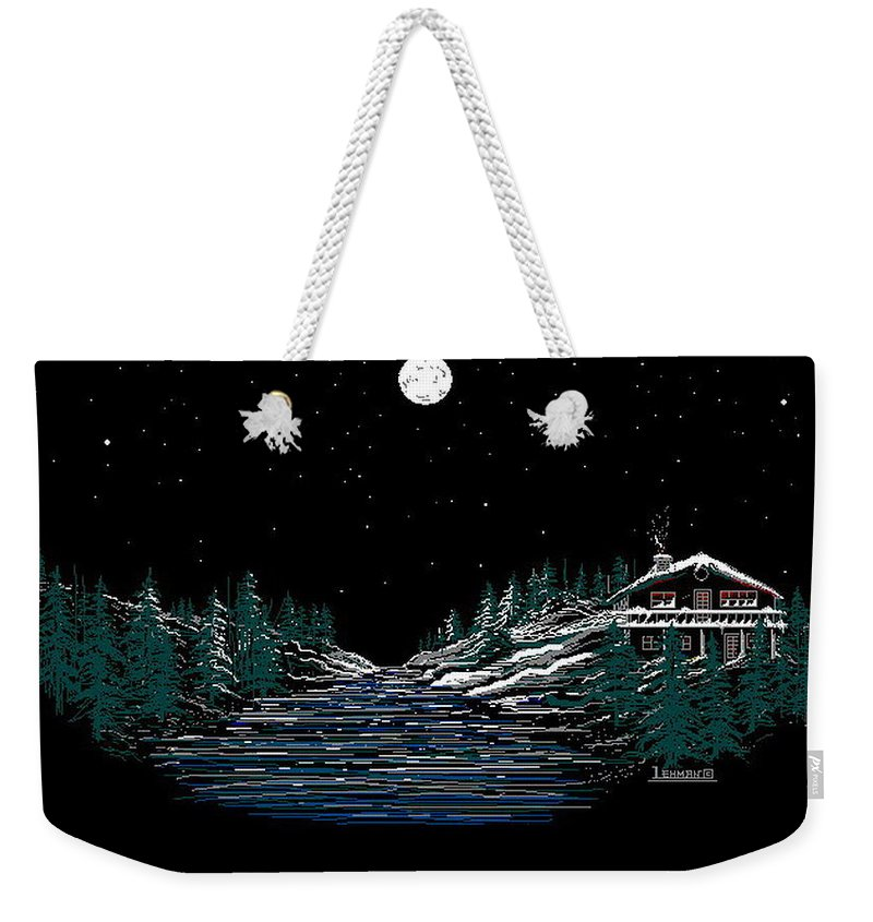 Cold Mountain Winter Weekender Tote Bag featuring the digital art Cold Mountain Winter by Larry Lehman