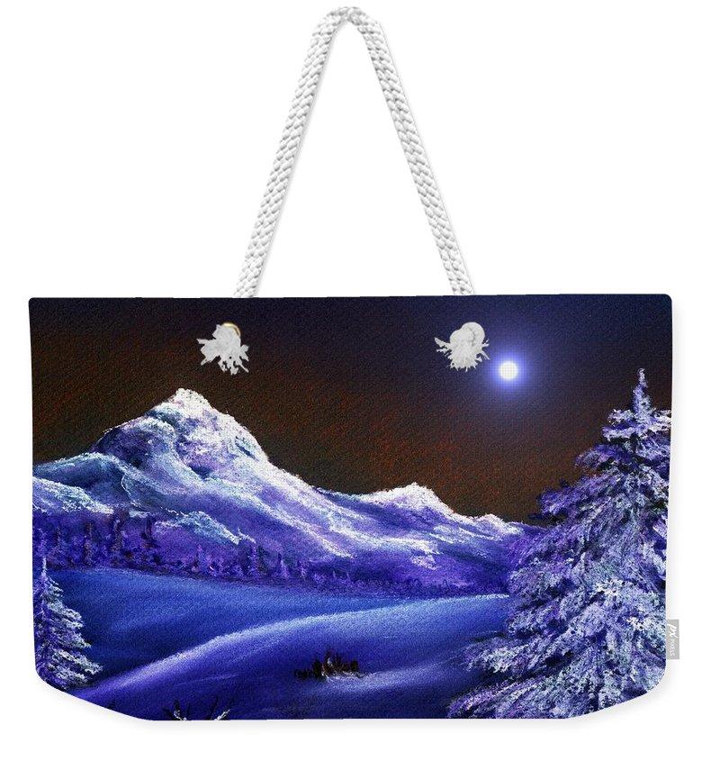 Moon Weekender Tote Bag featuring the painting Cold Night by Anastasiya Malakhova