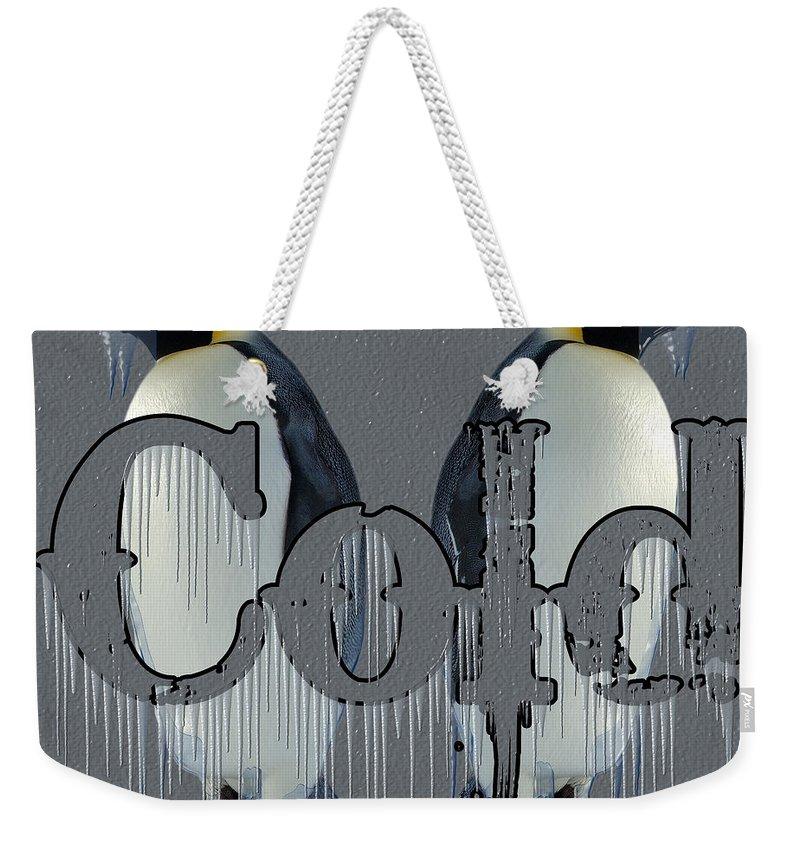 Penguins Weekender Tote Bag featuring the digital art Cold by Robert Orinski