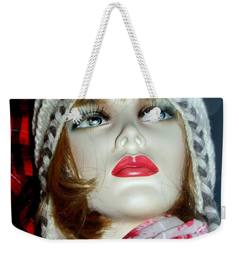 Mannequins Weekender Tote Bag featuring the photograph Cold Weather Cutie by Ed Weidman