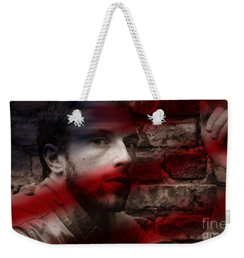 Rock And Roll Photographs Weekender Tote Bag featuring the mixed media Coldplay Chris Martin by Marvin Blaine