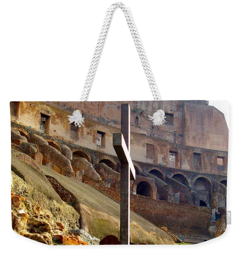 Rome Weekender Tote Bag featuring the digital art Colisseum Cross by Judith Cahill