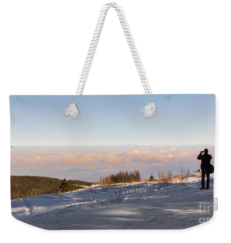 Clouds Weekender Tote Bag featuring the photograph Colleague by Jivko Nakev