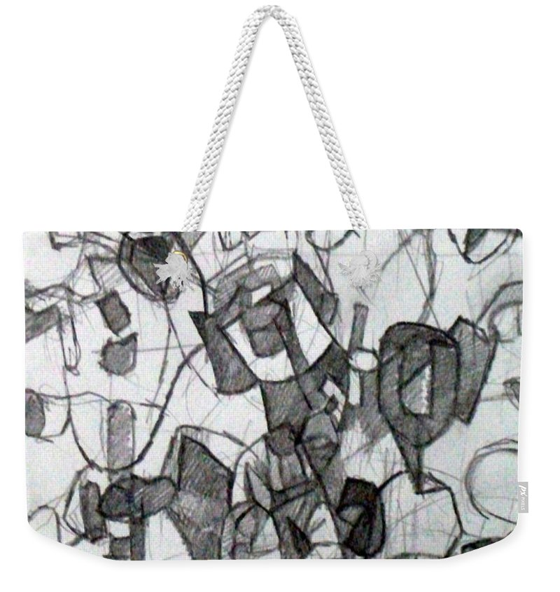 Torah Weekender Tote Bag featuring the drawing Collecting Thought 6 by David Baruch Wolk