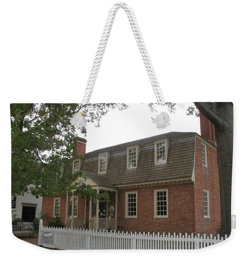 Brick Building Weekender Tote Bag featuring the photograph Colonial Williamsburg Scene by Christiane Schulze Art And Photography