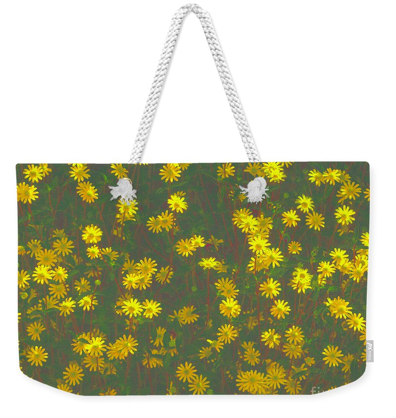 Digital Photography Weekender Tote Bag featuring the photograph Color Flower Wall by Luc Van de Steeg