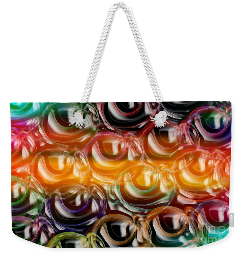 Abstract Weekender Tote Bag featuring the digital art Color Frenzy 2 by Andee Design