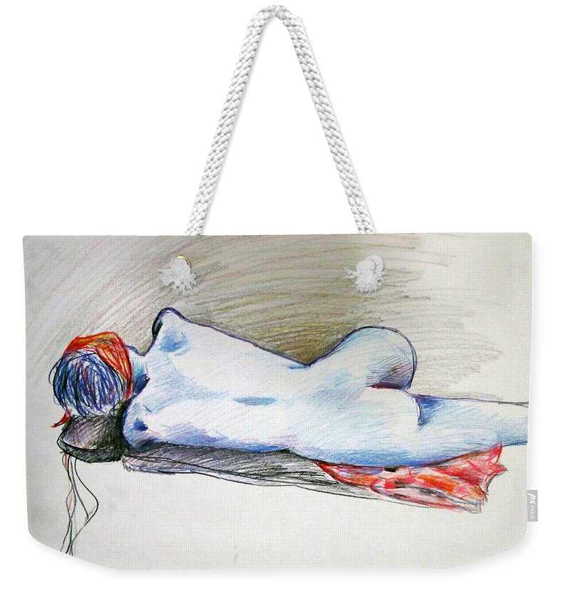 Nude Weekender Tote Bag featuring the painting Color Nude #1 by Jason Gluskin