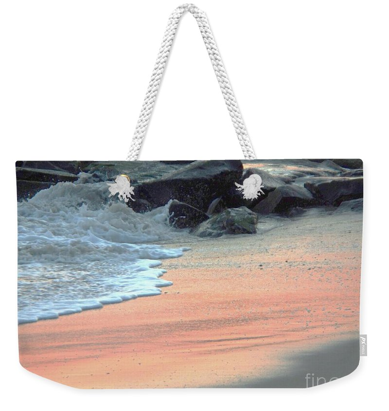 Color Weekender Tote Bag featuring the painting Color Of Sand Cape May Nj by Eric Schiabor