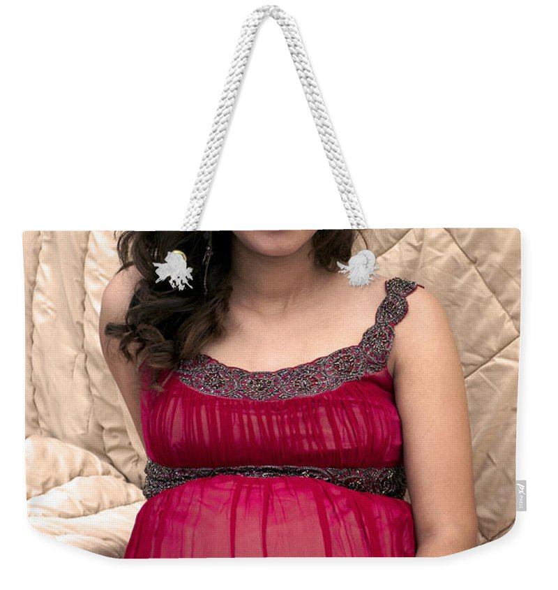 Color Weekender Tote Bag featuring the photograph Color Portrait Young Pregnant Spanish Woman I by Sally Rockefeller
