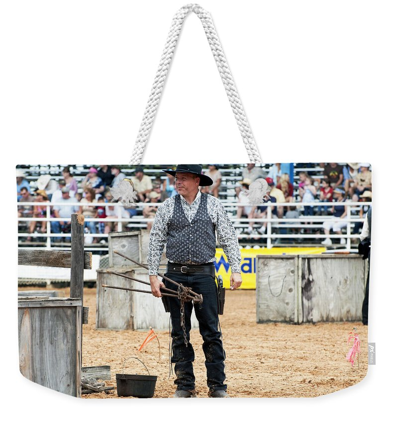 Rodeo Weekender Tote Bag featuring the photograph Color Rodeo Shootout Gunslinger by Sally Rockefeller