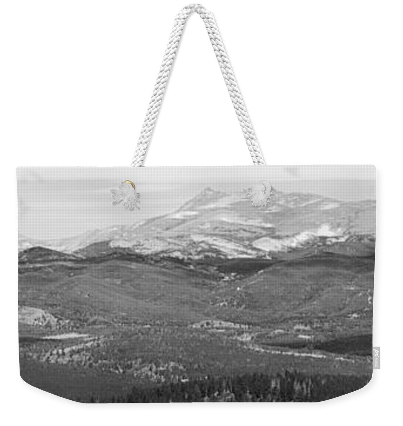 Rocky Mountains Weekender Tote Bag featuring the photograph Colorado Continental Divide Panorama Hdr Bw by James BO Insogna