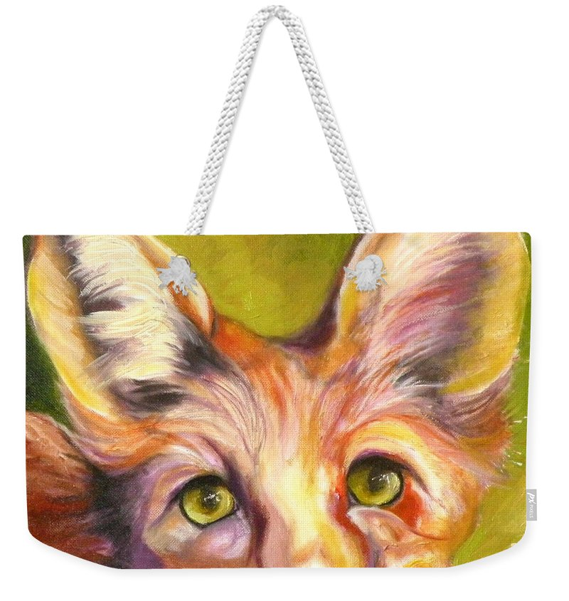 Oil Painting Weekender Tote Bag featuring the painting Colorado Fox by Susan A Becker