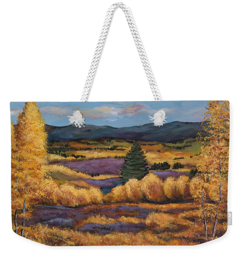 Autumn Aspen Weekender Tote Bag featuring the painting Colorado by Johnathan Harris