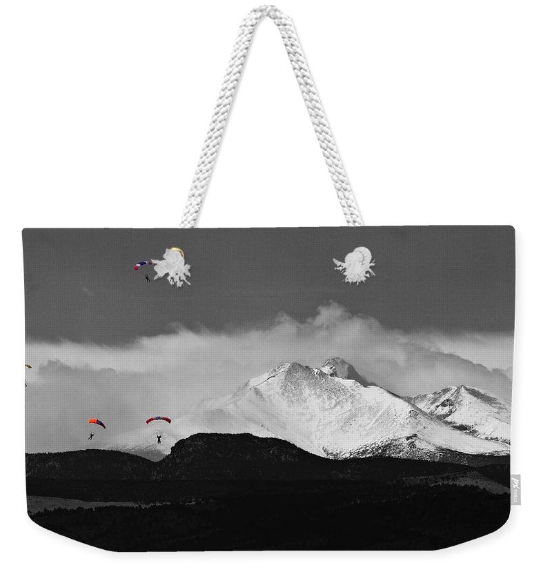 Boulder County Weekender Tote Bag featuring the photograph Colorado Rocky Mountain High by James BO Insogna